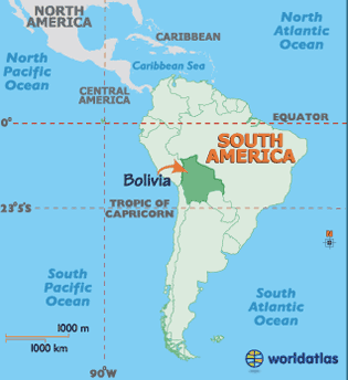 Bolivia is in South America and borders Brazil, Peru, Chile & Paraguay