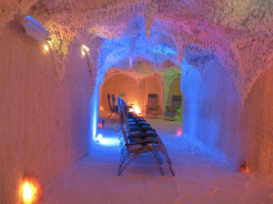 Above: An example a salt therapy room at Bad Soden-Salmünster (Germany)