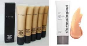 Before and after images of bronzer application. Mac and Dermalogica are among the best lightweight foundations around